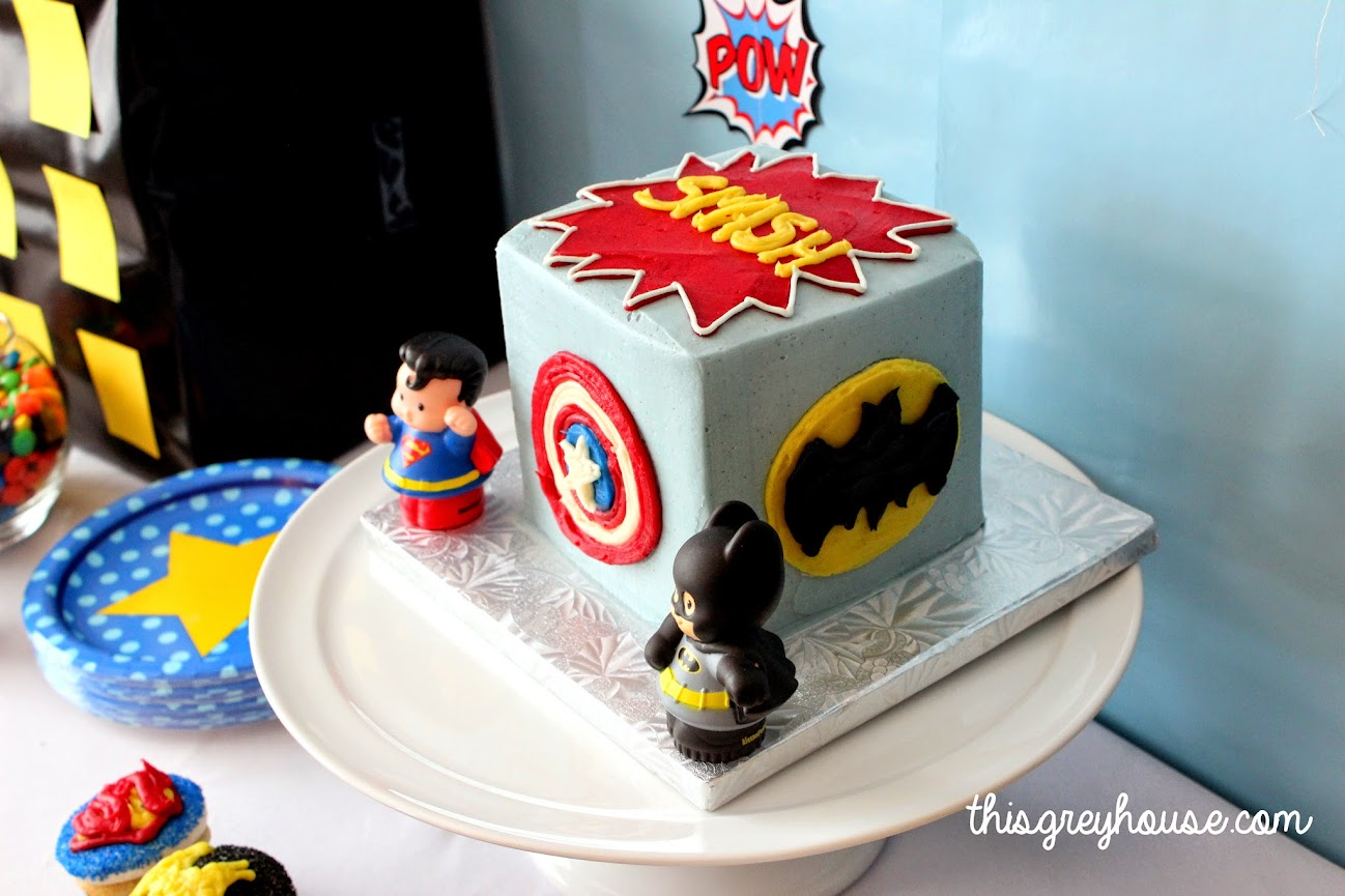 Superhero Smash Cake//This Grey House
