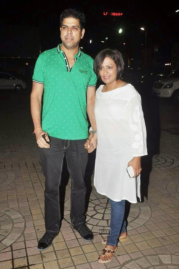 Murli Sharma with his wife Ashwini Kalsekar  during the screening of Poshter Boyz, in Mumbai, on July 30, 2014. (Pic: Viral Bhayani)