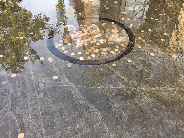 Coins in a fountain at University Village, Seattle.