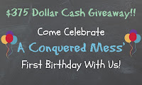$375 cash giveaway! Enter for your chance to #win! #sweepstakes #cash #giveaway via @AConqueredMess