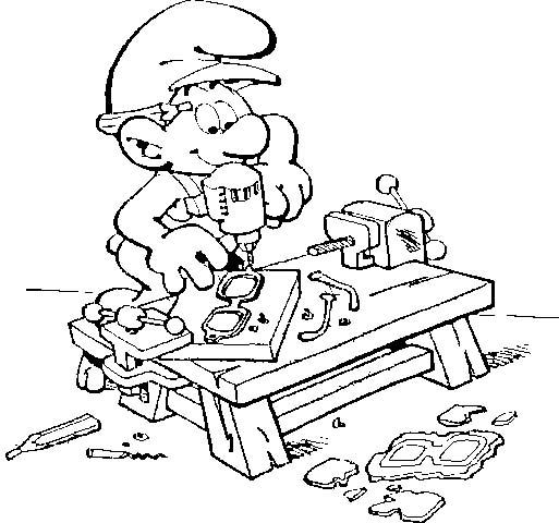 dibujos para colorear de los pitufos, pitufo carpintero
