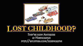 motivational poster - lost childhood? find it at Horncastle - with toy car collection
