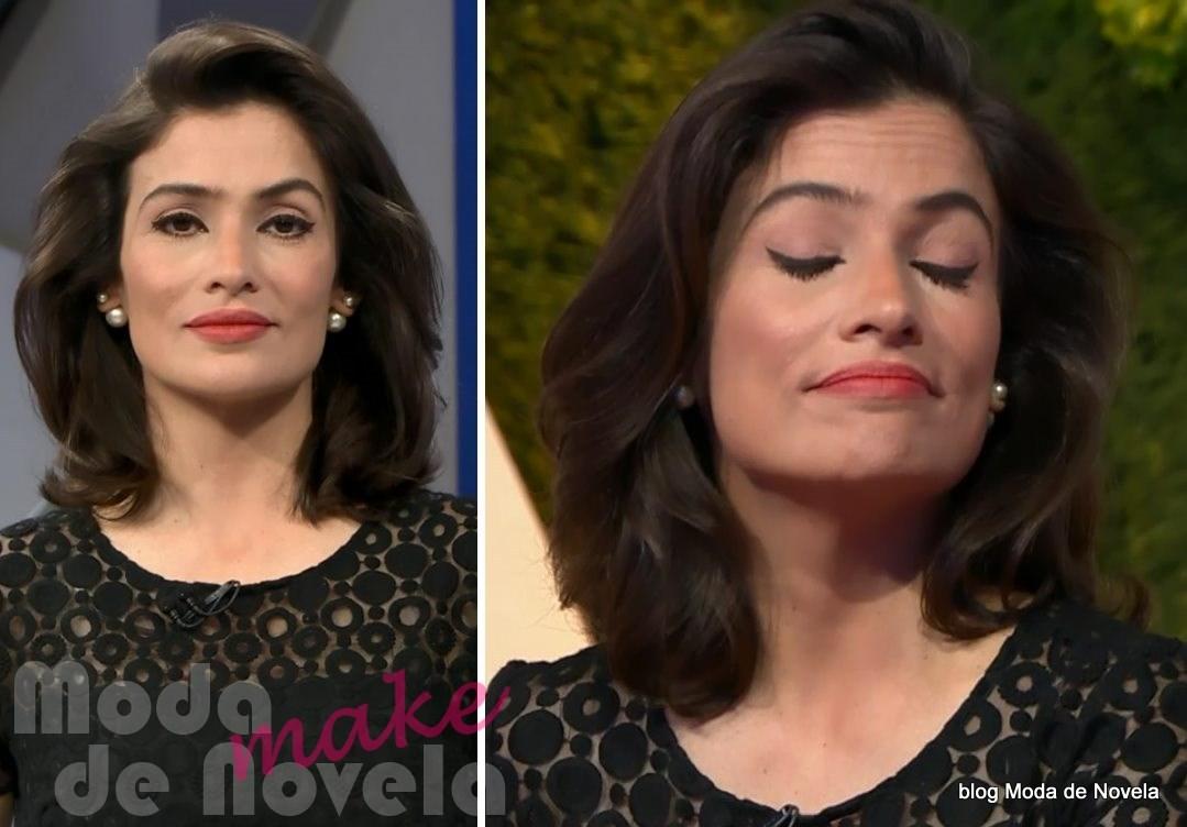 moda do programa Fantástico - maquiagem da Renata Vasconcellos