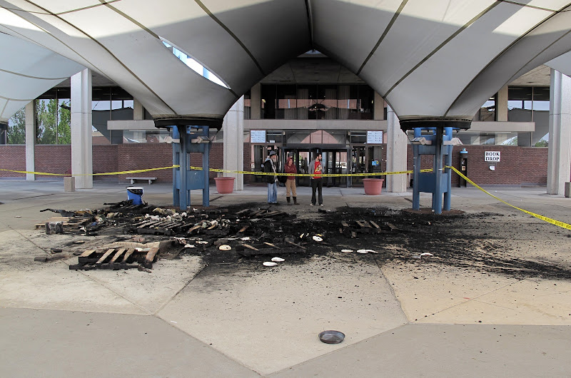 Occupy BloNo tent falls to arson