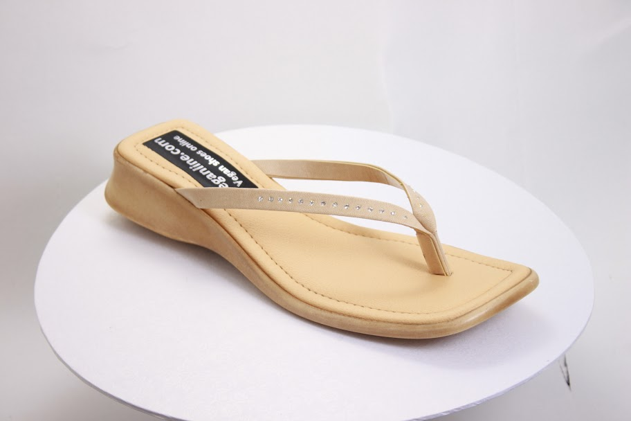 strappy womens sandal made in the UK out of beige synthetic materials