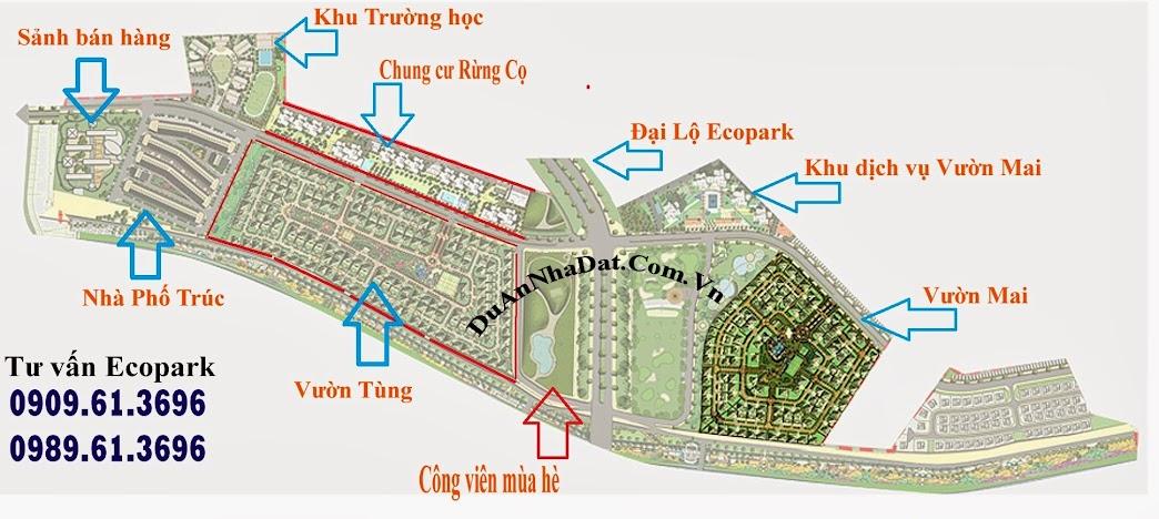 Vị trí các khu chức năng trong giai đoạn 1 Ecopark