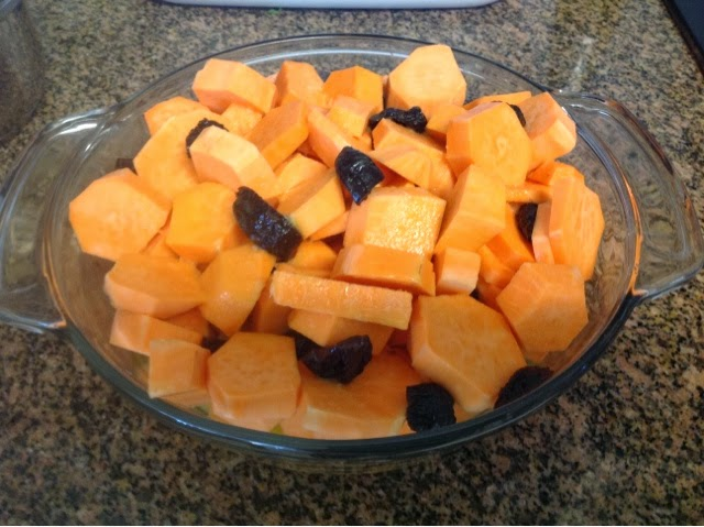 sweet potato chunks in a bowl