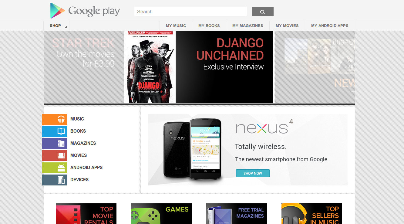 Google Play store front