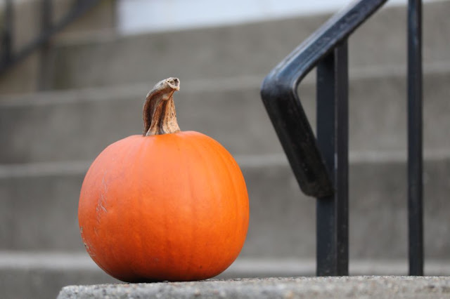 sugar pumpkin on someone's front stoop