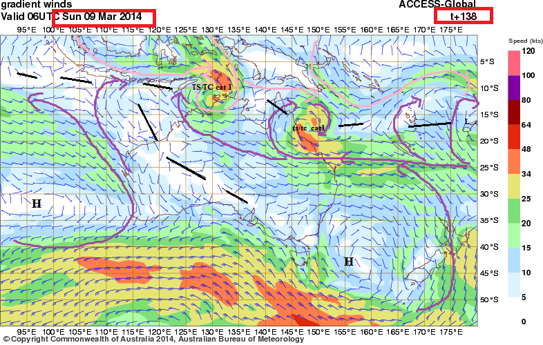 possible TC darwin 9th march wind fields
