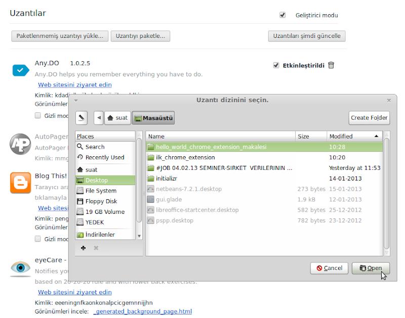 Chrome Uzantılar ekranı