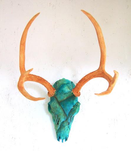 Deer skull painted turquoise