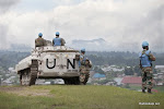 Bunagana, Nord Kivu, le 23 mai 2012, les casques bleus indiens de la Monusco avec leur blindé dans la cité de Bunagana avant sa chute entre les mains des mutins du M23. © MONUSCO/Sylvain Liechti