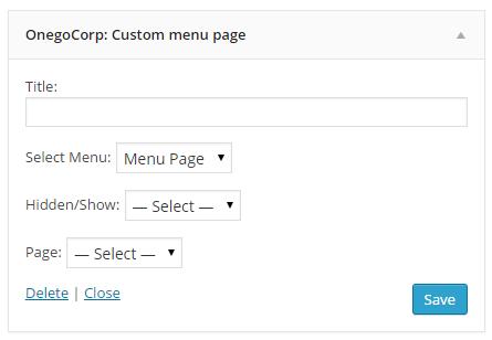 Widget tùy chỉnh menu ẩn hiện từng page khác nhau