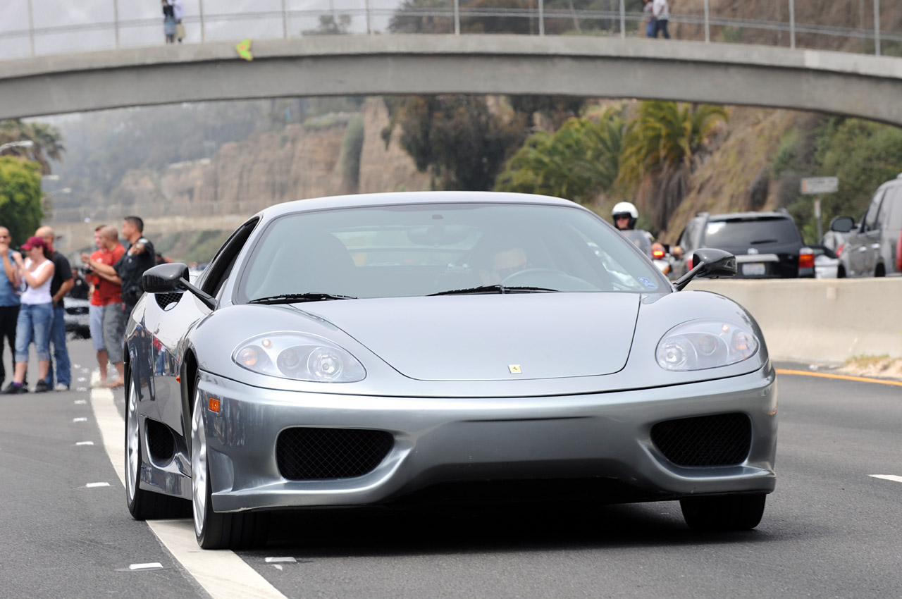 Ferrari F Grey On Highway  Wallpapers Download Res  Px X Px