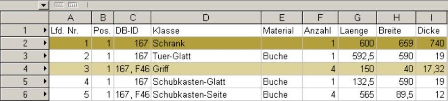 ElementsCAD - Beispielstückliste