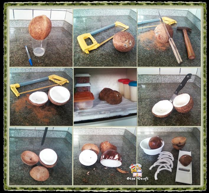 Descascando e filetando coco 2