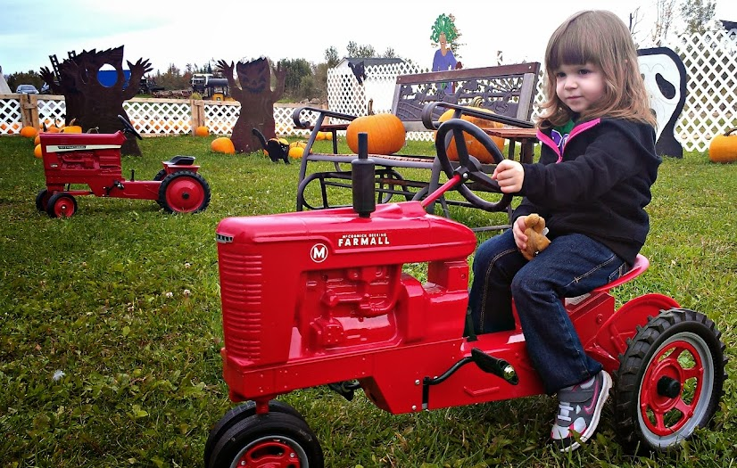 Our Trip to Maine: Riding a Toy Tractor at the Pumpkin Patch