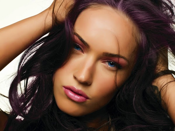 Megan Fox black hair close-up(2photos):wallpaper,fun girls