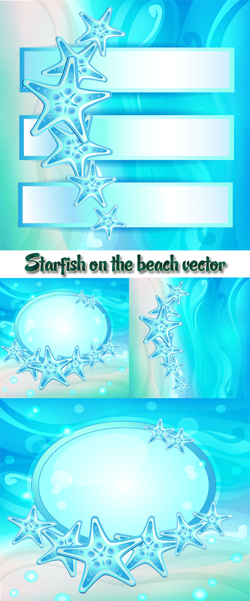 Stock: Starfish on the beach vector