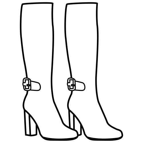 Women boots, free coloring pages