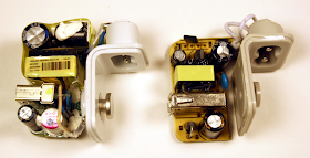 The components inside a real iPad charger (left) and a counterfeit charger (right).