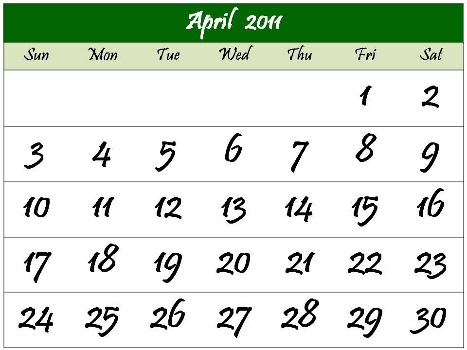 2011 calendar template with holidays. 2011 calendar template april.