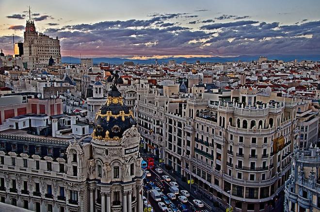 una vista panoramica del edificios de Madrid