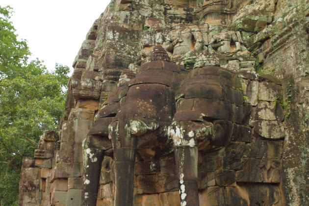 Elephants on the south gate of Angkor Thom, Siem Reap, Cambodia