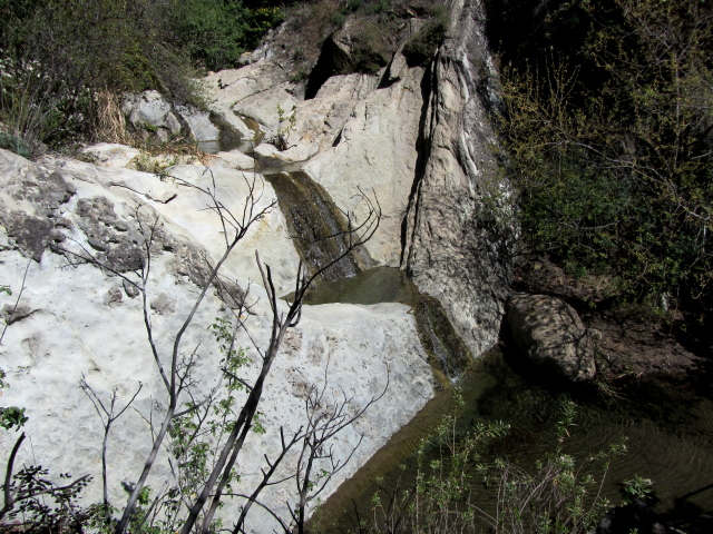 little falls and pools coming over a few hard layers of rock