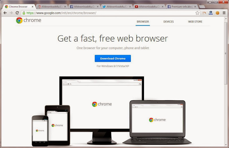 Screenshot of Google Chrome v.28.0.1500.72 Stable Web Browser PC Software Free Download at Alldownloads4u.Com