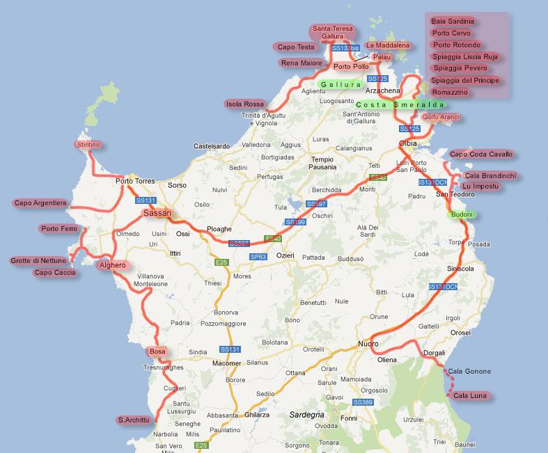 Cartina Sardegna Isola Rossa.Viaggio Fotografico In Sardegna Mappa