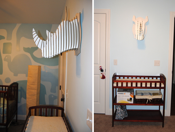 Remodelaholic | Adorable Boys Nursery with Painted Wall Mural - Cardboard Wall Panels Patterns