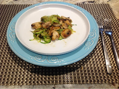 sprialized zucchini noodles tossed with mushrooms