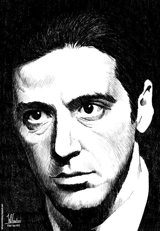 Ink drawing of Al Pacino, using Krita 2.5.