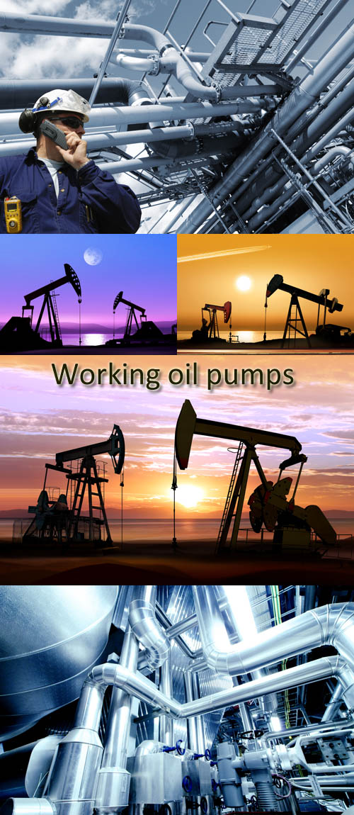 Stock Photo: Working oil pumps