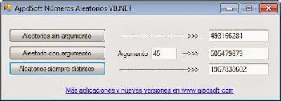 AjpdSoft Números Aleatorios VB.NET