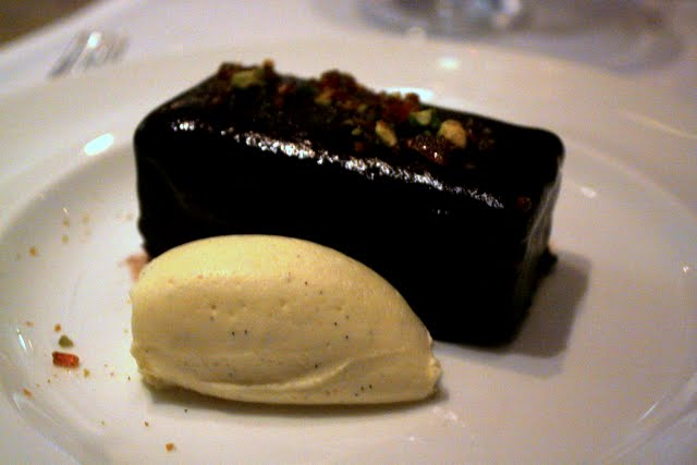 Chocolate torte for dessert at Oscar restaurant for the Eat Film Event at the London Restaurant Festival in England