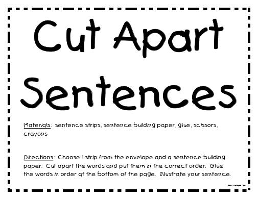 Tales of a Teacherista: Cut Apart Sentences