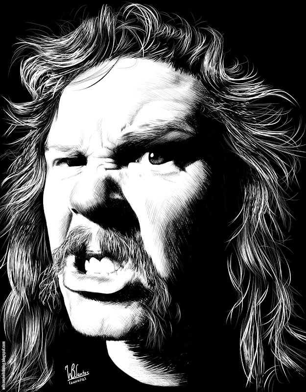 Ink drawing of James Hetfield, using Krita 2.4.