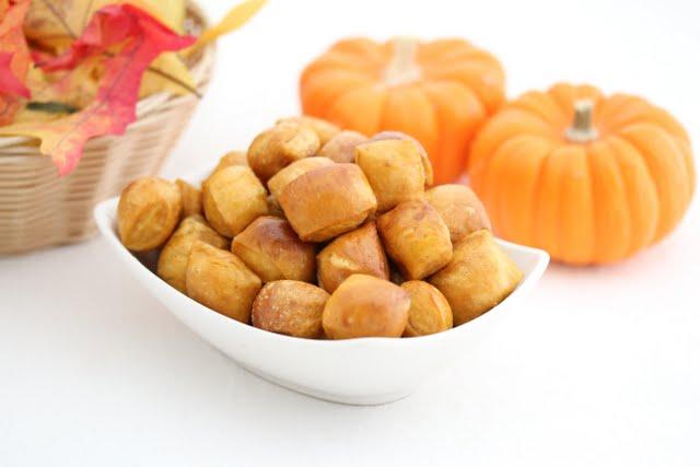 photo of a bowl of Pumpkin Soft Pretzel Bites