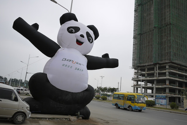 giant inflatable panda next to a road in Putian, China