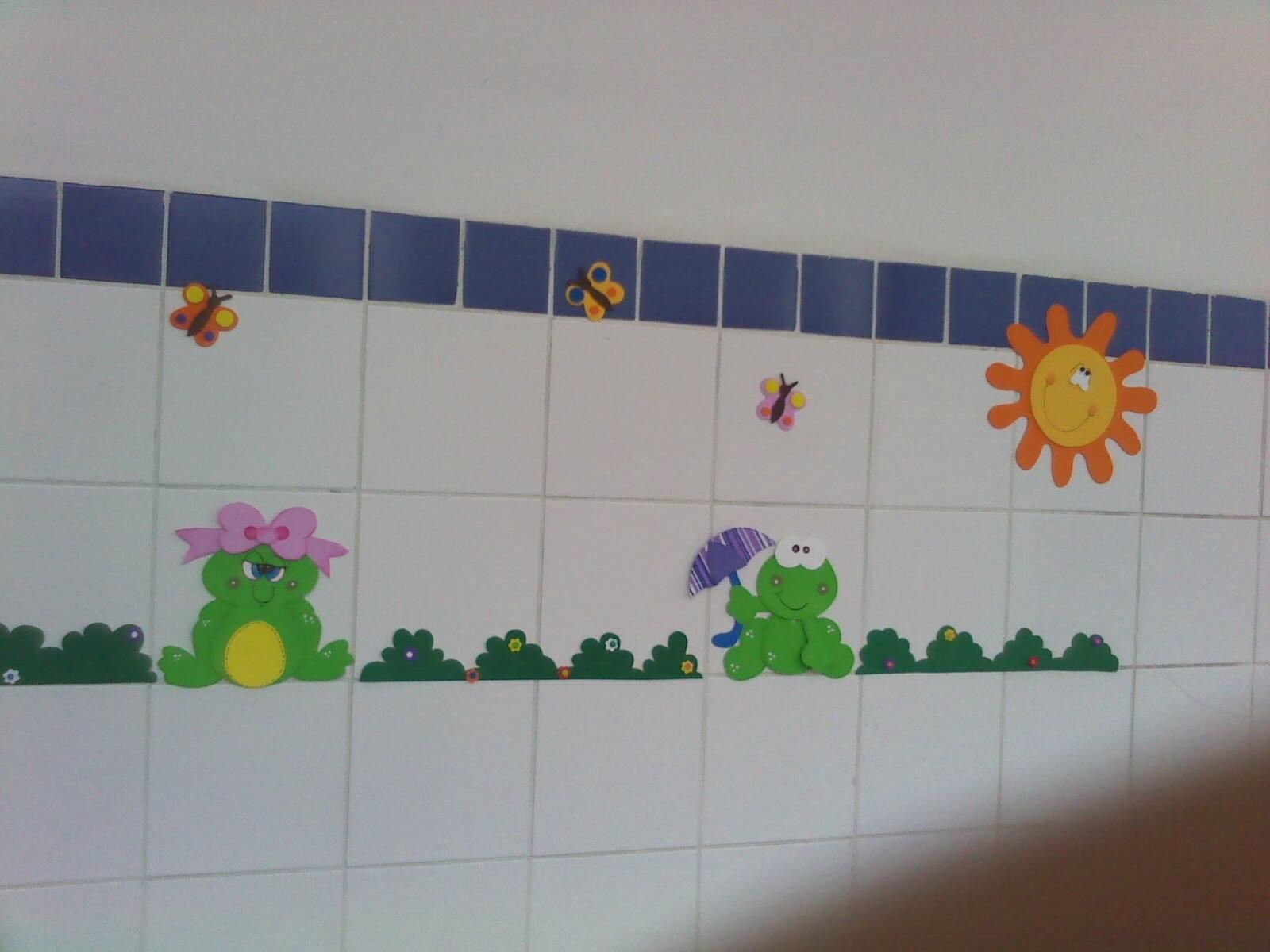 Decoração em EVA Festa dos sapos -> Decoracao Para Banheiro De Escola Em Eva