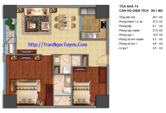 Bán chung cư Times City T1 T4 90.1m2