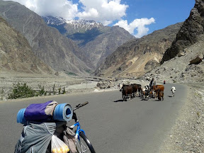 While traveling on KKH by Bicycle