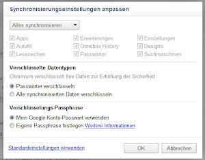 Chrome Sync mit Suchmaschinen