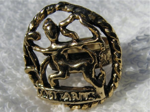 Sagittarius gold brass ring