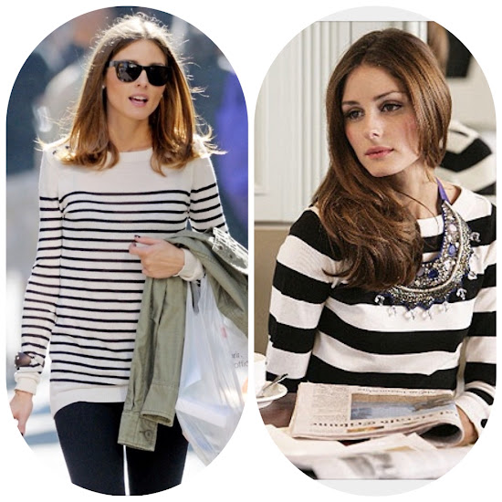Olivia Palermo Style Fall Fashion Tips black and white striped sweater