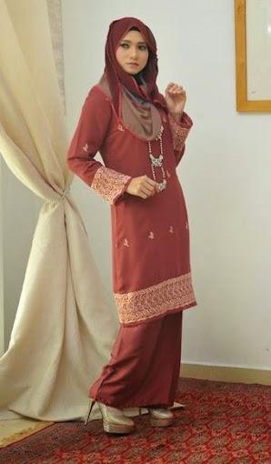 baju kurung moden coklat brown slim cut baju raya 2014 online murah