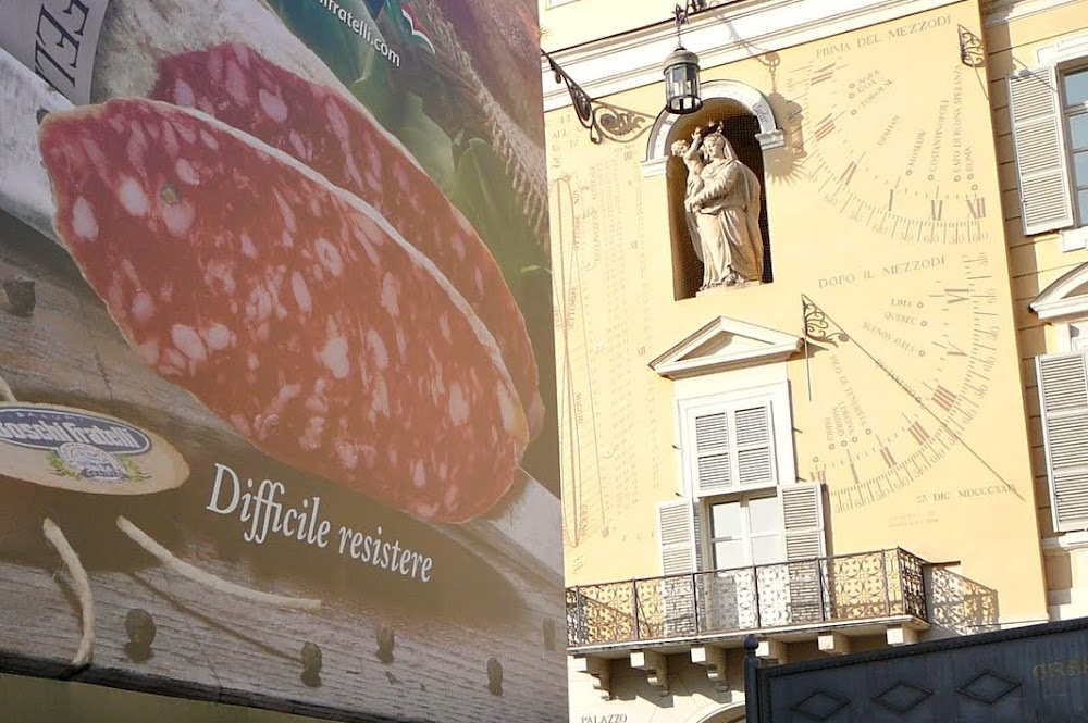 Power and pork: Boschi Fratelli salami ad in Parma.